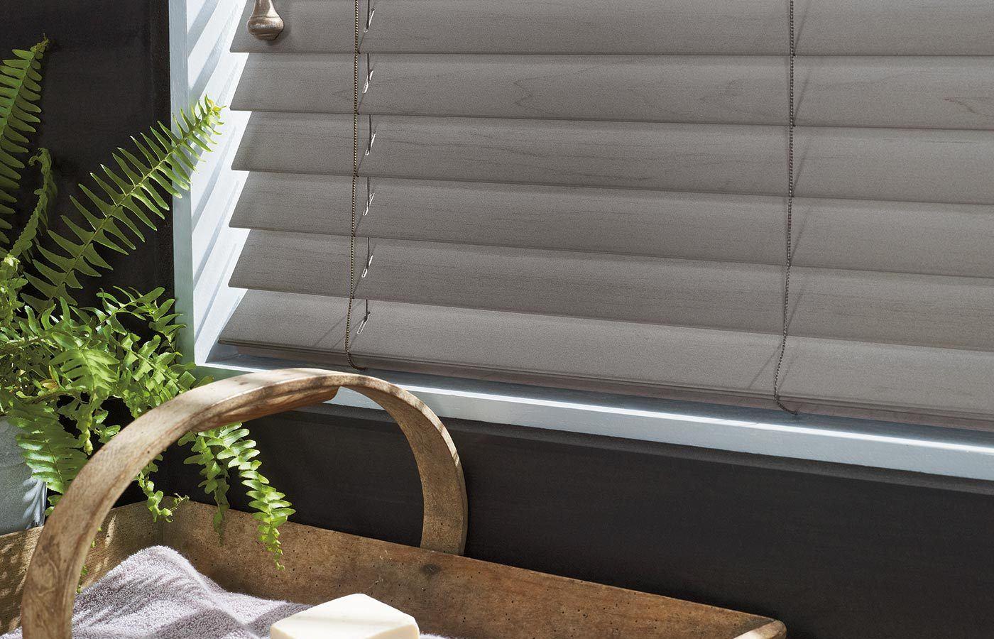 close up photo of Hunter Douglas horizontal blinds