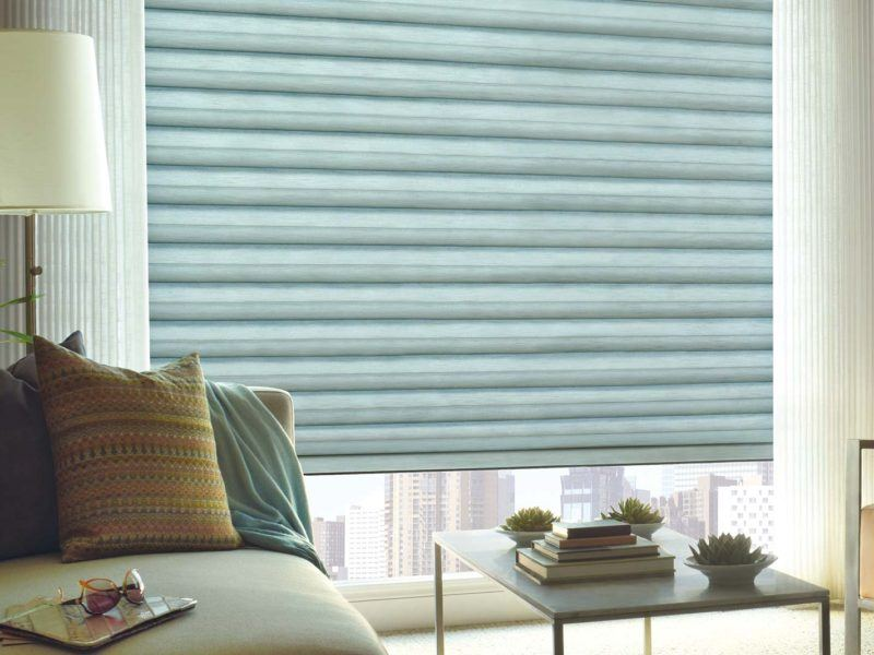 Hunter Douglas honeycomb solera blinds in a condo living room