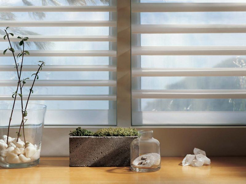Hunter Douglas Pirouette shades behind a class vase and planter