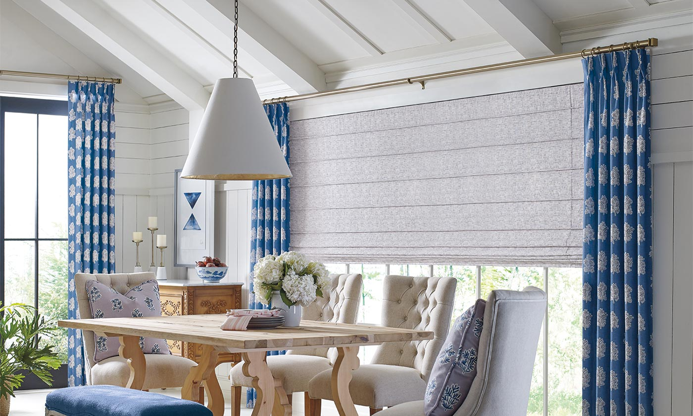Hunter Douglas Roman Shades in a dinning room