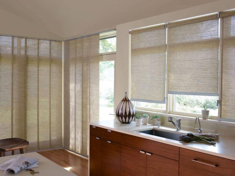 Hunter douglas roman blinds with a woven texture