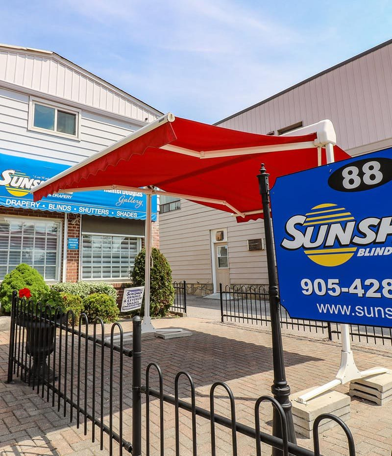 Sunshade Blinds & Drapery store front in Ajax, Ontario