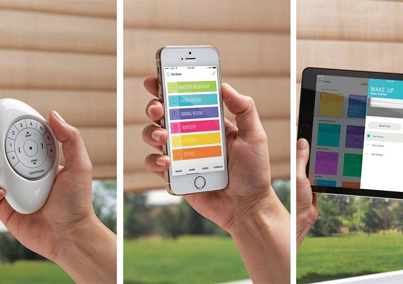 a photo split into three sections showcasing a remote, phone, and tablet displaying how blind motorization works