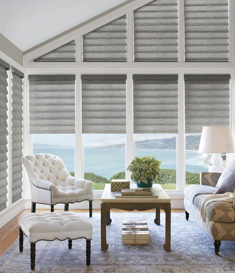 Hunter Douglas vignette blinds in a living room