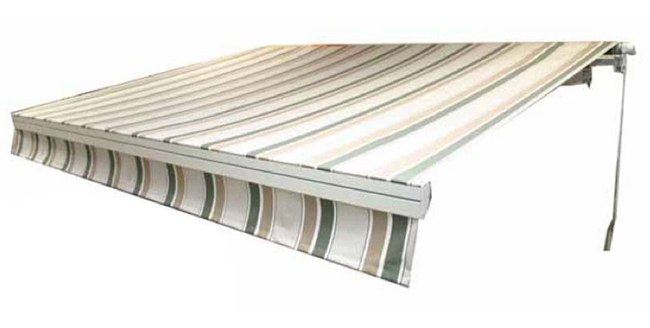 an extended patio awning with grey and green stripes