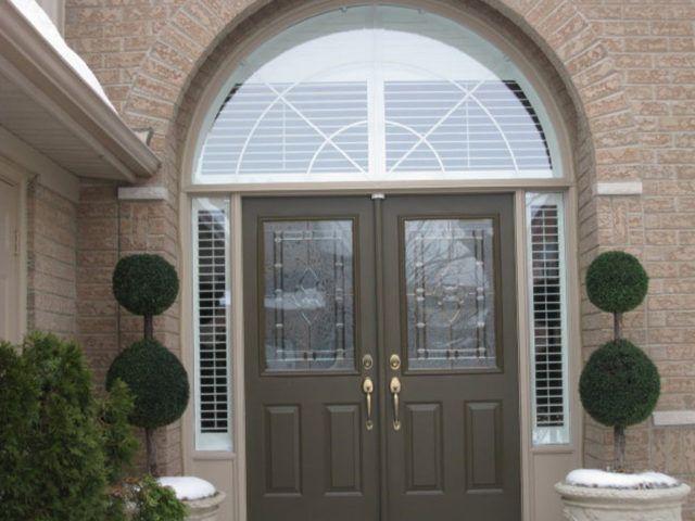Sunwood shutters in front entrance door windows