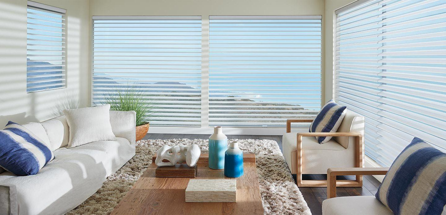 Hunter Douglas silhouette blinds in a bright living room